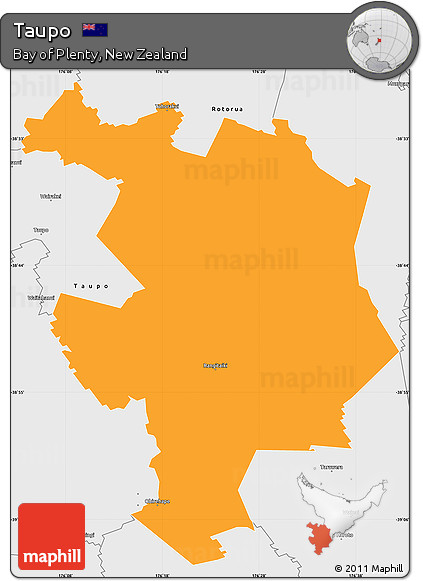 Map Of Taupo New Zealand.Free Political Simple Map Of Taupo Single Color Outside Borders