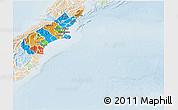 Political 3D Map of Canterbury, lighten