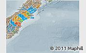 Political 3D Map of Canterbury, semi-desaturated