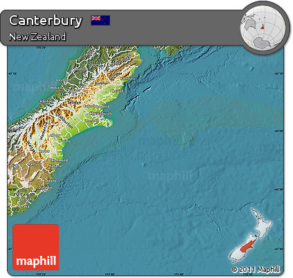 Map Of Canterbury New Zealand.Free Physical Map Of Canterbury Satellite Outside