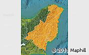 Political Shades Map of Gisborne, satellite outside