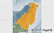 Political Shades Map of Gisborne, semi-desaturated