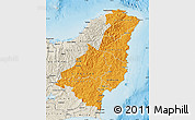 Political Shades Map of Gisborne, shaded relief outside