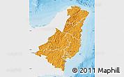 Political Shades Map of Gisborne, single color outside