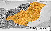 Political Shades Panoramic Map of Gisborne, desaturated