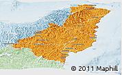 Political Shades Panoramic Map of Gisborne, lighten