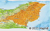 Political Shades Panoramic Map of Gisborne, physical outside
