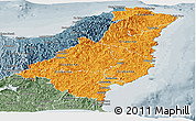 Political Shades Panoramic Map of Gisborne, semi-desaturated