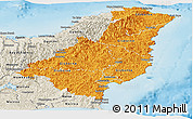 Political Shades Panoramic Map of Gisborne, shaded relief outside