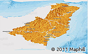 Political Shades Panoramic Map of Gisborne, single color outside