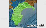 Political Shades 3D Map of Hawke's Bay, darken