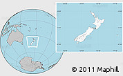 Blank Location Map of New Zealand, gray outside