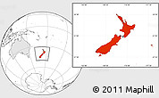 Blank Location Map of New Zealand, highlighted continent