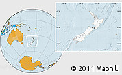 Blank Location Map of New Zealand, political outside