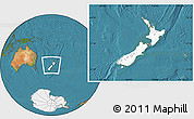 Blank Location Map of New Zealand, satellite outside