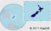 Flag Location Map of New Zealand, gray outside