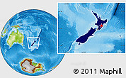 Flag Location Map of New Zealand, physical outside