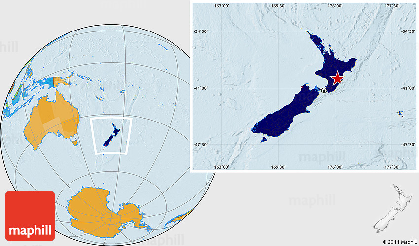 Location Of New Zealand On World Map.Flag Location Map Of New Zealand Political Outside