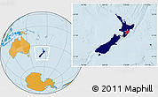 Flag Location Map of New Zealand, political outside