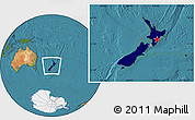 Flag Location Map of New Zealand, satellite outside
