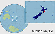 Flag Location Map of New Zealand, savanna style outside