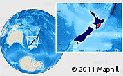 Flag Location Map of New Zealand, shaded relief outside