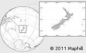 Gray Location Map of New Zealand, blank outside, hill shading inside