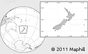 Gray Location Map of New Zealand, blank outside