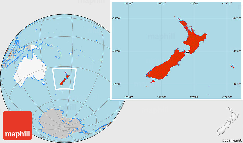 Gray Location Map Of New Zealand Highlighted Continent - World map new zealand
