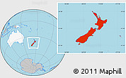 Gray Location Map of New Zealand, highlighted continent