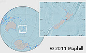 Gray Location Map of New Zealand, hill shading outside