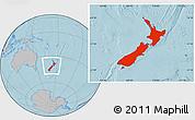 Gray Location Map of New Zealand, hill shading