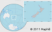 Gray Location Map of New Zealand, lighten, land only