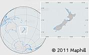 Gray Location Map of New Zealand, lighten, semi-desaturated