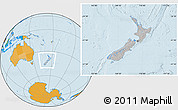 Gray Location Map of New Zealand, political outside, hill shading