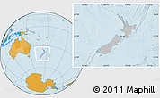 Gray Location Map of New Zealand, political outside