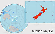 Gray Location Map of New Zealand