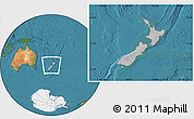 Gray Location Map of New Zealand, satellite outside, hill shading