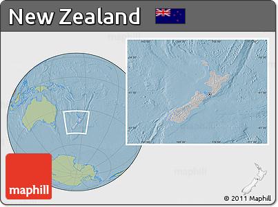 Gray Location Map of New Zealand, savanna style outside, hill shading