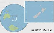 Gray Location Map of New Zealand, savanna style outside