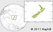 Physical Location Map of New Zealand, blank outside
