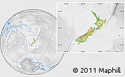 Physical Location Map of New Zealand, lighten, desaturated
