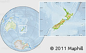 Physical Location Map of New Zealand, lighten
