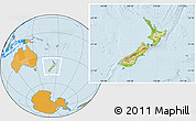 Physical Location Map of New Zealand, political outside