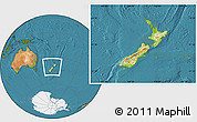 Physical Location Map of New Zealand, satellite outside