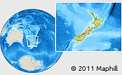 Physical Location Map of New Zealand, shaded relief outside