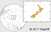 Political Location Map of New Zealand, blank outside