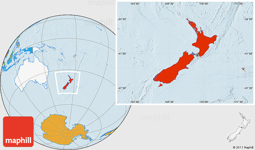 Location Of New Zealand In World Map.Political Location Map Of New Zealand Highlighted Continent