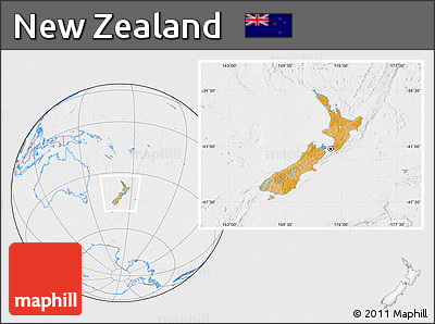 Political Location Map of New Zealand, lighten, desaturated