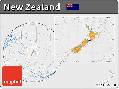 Political Location Map of New Zealand, lighten, desaturated